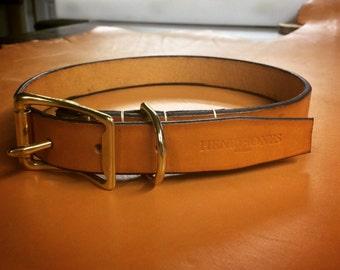 Cognac Leather Dog Collar
