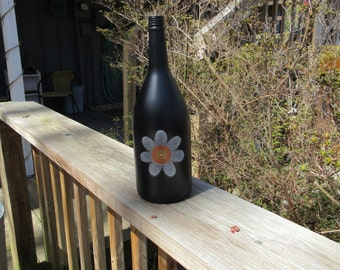Upcycled Wine Bottle with Flower, Recycled Wine Bottle with Flower, Painted Wine Bottle with Flower, Painted Wine Bottle