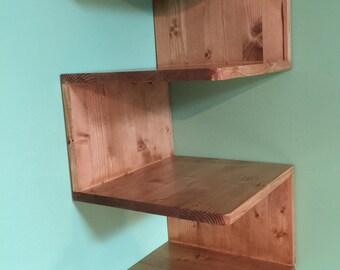 Zig-Zag Corner Shelf, Custommade shelves, Handmade Corner Shelf Unit, Shelf Unit, Stained Shelf, Gift, Solid Wood Shelving Unit,Wall Shelf