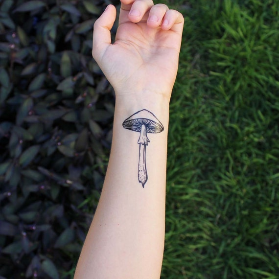 21 Mushroom Tattoo Designs Ideas: Mushroom Temporary Tattoo Black Line Ink Wild Mushroom