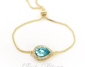 Wedding Bracelet 14K Gold Swarovski Light Turquoise Crystal Bracelet Bridesmaids gift Bridal Bracelet Wedding Bracelet Teardrop Bracelet