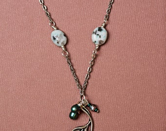Silver Cala Lily Necklace with Jasper Beads