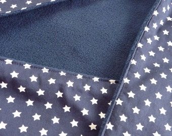 Tough, dark blue baby cape, shawl, wrap blanket, wrapper with White Star