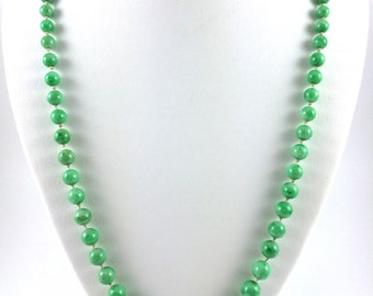 """Apple Green Jade Bead Necklace, Sterling Silver Clasp 26"""""""