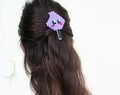 Fun hair accessory / perler bead hair clip / Kawaii cute face hair clip / cotton candy face