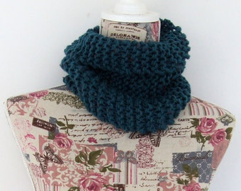 Blue single loop snood scarf, Blue hand knitted snood scarf cowl