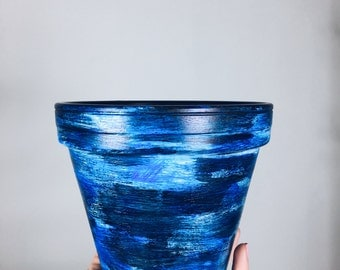 "Blue Streaked Terracotta Pot (Large 6"")"