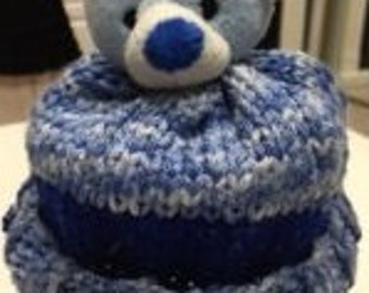 Blue/White Bear Winter Hat