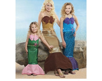 Sewing Pattern for Mermaid Costumes for Childs, Girls & Misses,  Simplicity Pattern 8198, Halloween Costume, Mermaid Costume,Mother/Daughter