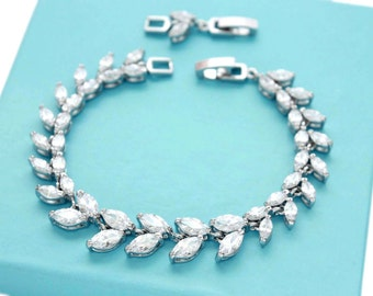Wedding bracelet, Bridesmaid bracelet, Bridal jewelry, CZ bracelet, Crystal bracelet, Cubic zirconia, Bridesmaid jewelry gift 0199