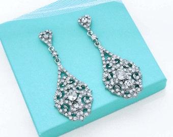 Wedding jewelry, Crystal bridal earrings, Statement wedding earrings, Long earrings, Art deco, Crystal bridal jewelry, Gatsby jewelry, 11309