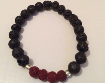 Black and Red Lava Beads