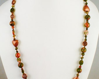 Unikite and Copper long necklace