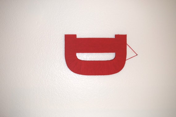 Yarn Letter, Nursery Letter, Red Yarn Letter D, Wall Hanging Letter ...