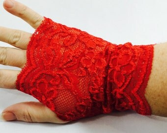 Red Lace Fingerless Gloves or Wrist Cuff, Wrist Accessories,  Boho Accessories, Tattoo cover up, Boho wristband, Lace Gloves, Multiple Uses
