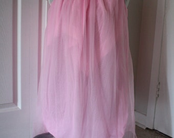 New 1960s Canadian Maid Neon Pink Nylon Nightgown