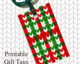 Red Green Plaid Knitted Gift Tags / Printable Christmas Gift Tags / Knitter Scrapbook Tags / Downloadable Gift Tags