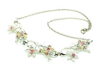 Vintage Coro Necklace | Vintage Designer Necklace | 1950s Necklace | Floral Necklace | Rhinestone Necklace | Coro Jewelry | Vintage Coro