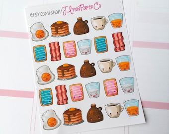 27 Kawaii Breakfast Food Stickers, Kawaii Food stickers, Kawaii, Cute Stickers, Planner Stickers, Pretty,  Erin Condren, ECLP