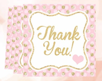 Pink and Gold Thank You Tags, Thank you favor tags, confetti thank you stickers, 1st Birthday tags, favor tags, Digital File.