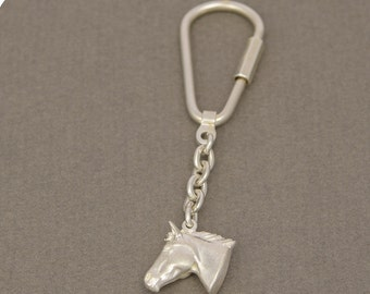 Key ring • horse head • solid & 3D • silver • ice mat • Sterling • screw mechanism
