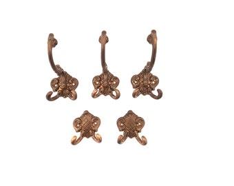 Set of 5 antique coat + hat hooks  #98A621X10