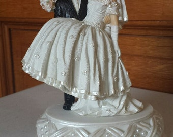 Dark Hair Bride and Groom Cake Top with Pearl Base Wedding Cake Topper