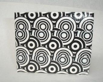 Bifold Duct Tape Wallet - Graphic Swirl - Black - White - Stripes - ID Pocket - Billfold