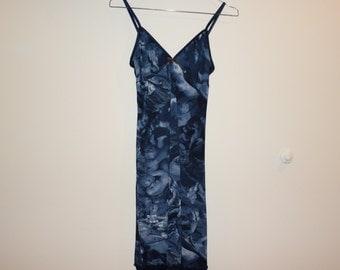 Blue Mesh Print Layered Slip