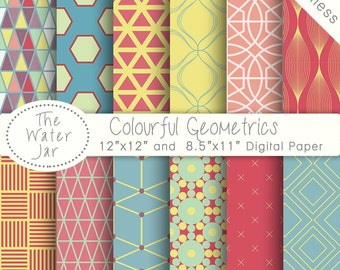 Geometric Digital Paper Pack SEAMLESS Bright Colourful Patterns, Summer Digital Paper, Instant Download, Commercial Use,  Repeating Pattern