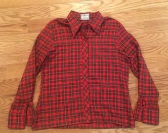 Viyella Red Plaid Vintage 70s Button Front Shirt