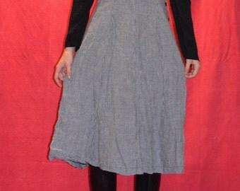 90s Long Cotton Checkered Dress