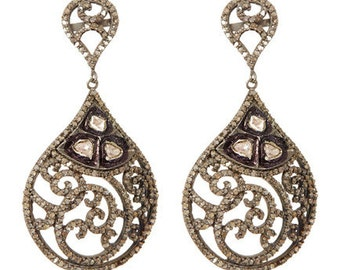 Paave Full Diamond Tear Drop Shape Dangle Earring