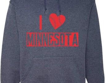 Vintage Navy Hood Sweatshirt with Red I heart Minnesota, baseball heart style design