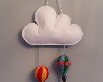 Felt cloud with crochet balloons mobile wall decor baby's room decor