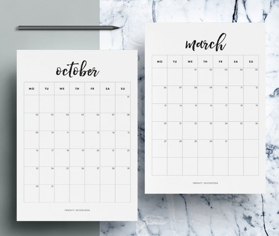 2017 Monthly Calendar Printable 12 Month Calendar Pages