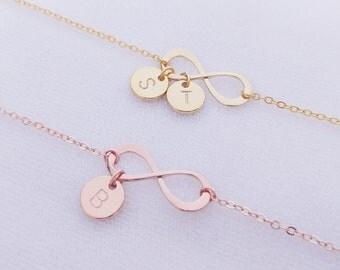 Personalized Infinity Bracelet, Gold Rose Gold Infinity Bracelet, Initial Bracelet, Bridesmaid Gifts, Monogram jewelry