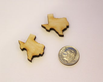 "Set of 2 - 1"" Texas Cut Outs - DIY Earring Supplies, Texas Wood Cut Outs, Unfinished Wood Cutouts, Wood Texas Shapes, Texas Cutouts"