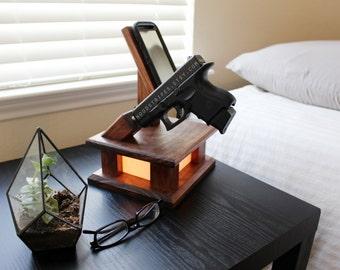3 in 1 Modern Wood Phone Docking Charging Station Lamp with Gun Holder, Nightlight, Gift, Modern Lamp, Modern Nightlight