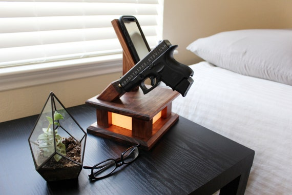 3 In 1 Modern Wood Phone Docking Charging Station Lamp With