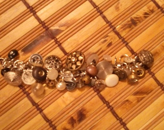 Handmade Vintage Button Charm Bracelet