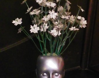 Doll Head Vase With Hand-cut Paper Flowers