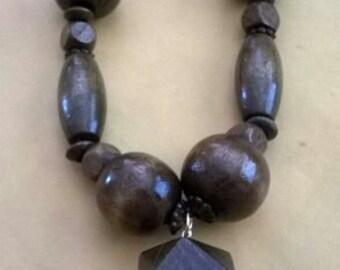 dark brown wood necklace