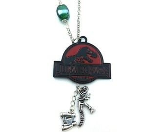 """T-Rex Bones Jurassic Park Inspired Green Glass Beaded Charm 20"""" Chain Necklace Silver Tone"""