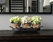 Silk Floral Arrangement: Rustic Arrangement Three hydrangea flowers with burlap wrapped pots in a distressed metal tray