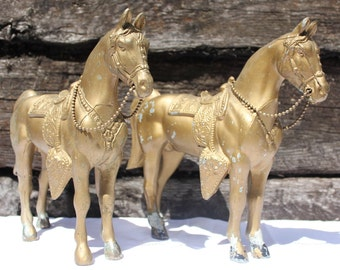 2- Early 20th C. Vintage Cast Metal Horses - Horse Statue - Carnival Horse Statue