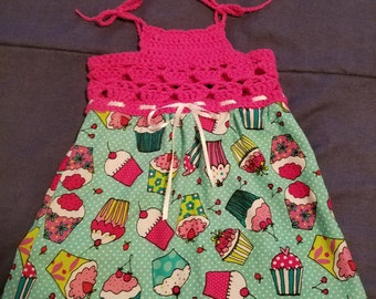 Crochet and fabric dress