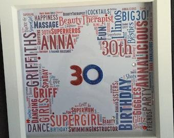 Birthday Milestone Word Art Frame 16, 18, 21, 30, 40, 50...