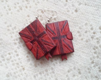 Gift for teen Wooden earrings Great Britain Flag Earrings Union Jack Earrings mini books earrings miniature book tiny book wooden gift