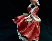 Royal Doulton Top o' the hill, HN1034, lady in red dress and hat, Top of the Hill, vintage china figure, porcelain